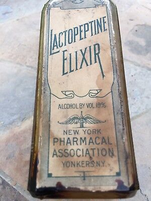 Vintage Lactopeptine Elixir Bottle with Front and Back Label Yonkers NY