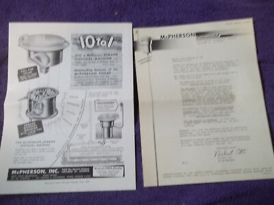 McPHERSON FLUSHING TOILET FOR TRAVEL TRAILER BOOKLET