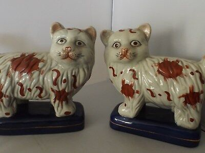 Antique Pair of Staffordshire Pottery Mantle Cats