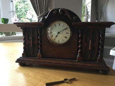 French wooden mantle clock, late 19th early 20th century