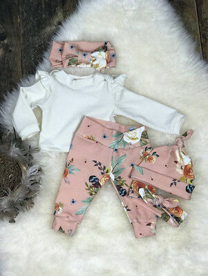 Newborn Baby Girls Fly Sleeve Tops T-shirt Floral Pants Leggings Outfits Clothes