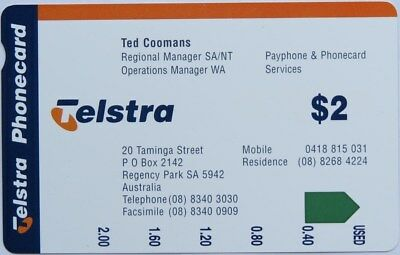 Telstra Australia – $2 Ted Coomans BusinessPhonecard (Prefix 1276) - Mint