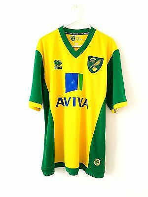 Norwich City Home Shirt 2013. Medium Errea. Yellow Adults Short Sleeves Top Only