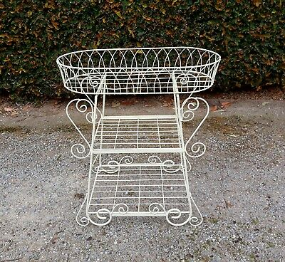Cream Iron Pot Plant Stand / Flower Basket, Scrolly Vintage French style