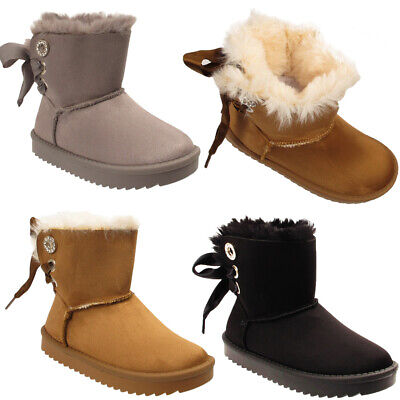 Girls Kids Fur Lined High Ankle Satin Lace Up Winter Warm Comfy Soft Boots Shoes