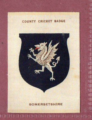Silk cigarette cards 1921 County Cricket Club Badge Somersetshire #408