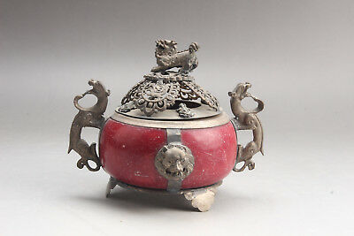 Chinese Hand-carved Tibetan silver jade Incense Burners & lion Lid ar582