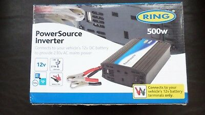 Ring RINVU500 Powersource 500W Inverter with Three Pin Socket and USB BNIB