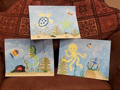 Painting wall art set matches PBK POTTERY BARN KIDS Retired OCEAN CRITTERS SEA