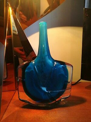 Lovely Mdina blue glass fish / axe. 18cm tall, signed