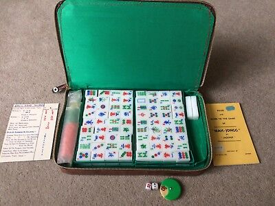 Vintage Mah Jong Set complete with leather Carry Case, 148 Tiles & Instructions