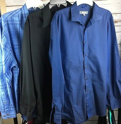 Lot of 3  Men's Button Down Dress Shirts Puritan And Kenneth Cole Reaction Large