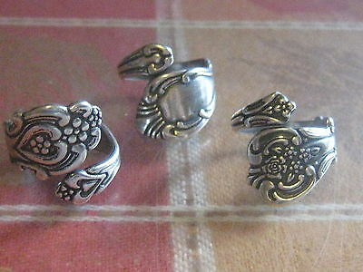 Wholesale Lot Of 3 Silver Plated Floral Spoon Rings Sizes 6-10 Adjustable