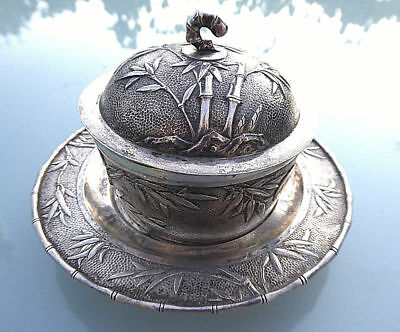 China round butter can can export solid silver Luen Wo Shanghai bamboo decor
