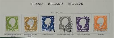 Iceland 6 Early Stamps  1911   (S7)