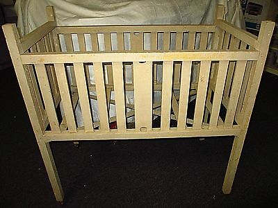 Vintage Painted Baby Crib Circa 1940s Wooden Wheels Display Your Doll Collection