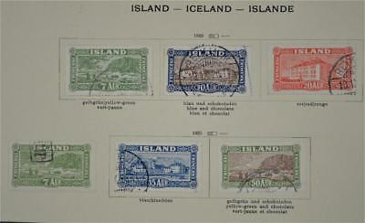 Iceland 6 Early Stamps  1925    (S14)