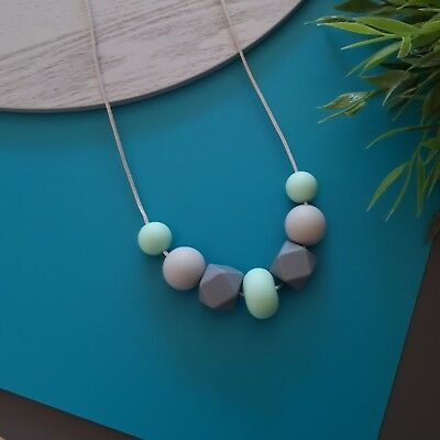 Silicone Sensory Necklace (was Teething) Mint Grey Beads Handmade Gift For Mum