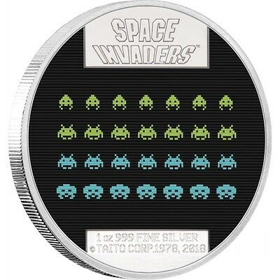 2018 Space Invaders 40th Anniversary 1oz Silver Coin
