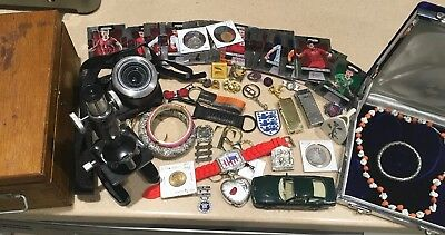 Junk Drawer Lot Vintage Military Sterling Pins Lighters Coins Jewerly Soccer