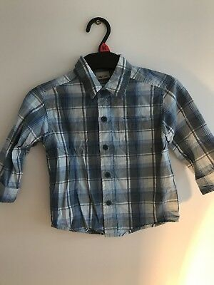 Blue Checked Long Sleeved Shirt From Cherokee Age 12-18 Months
