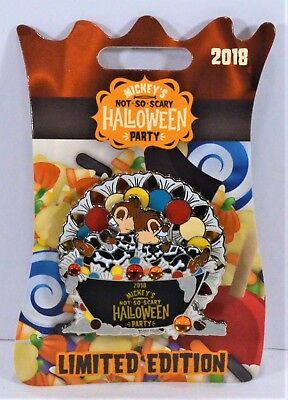 Disney 2018 Not So Scary Halloween Party Chip & Dale As Skeltons 3-D Pin LE 5450