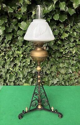 Antique Victorian Arts & Crafts Copper and Brass Hinks Oil Lamp