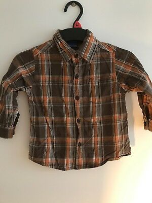 Brown Checked Long Sleeved Shirt From Cherokee Age 12-18 Months