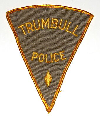 TRUMBULL CONNECTICUT CT Police Sheriff Patch PIE SHAPE VINTAGE OLD MESH LARGE ~