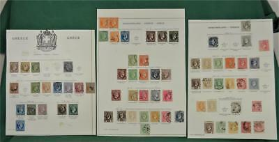 Greece Stamps Selection Of Early Stamps On  3 Album Pages   (S57)