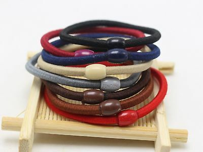 50 Mixed Color 4mm Thick Hair Ties Rope Elastic Rubber Bands Ponytail Holder