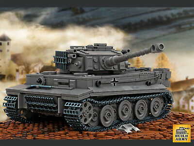 WW2 MOC German Tiger Panzer tank truck T34 brick minifigure+free Lego panel