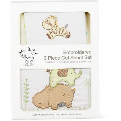 My Baby by Bubba Blue - Embroidered 3 Piece Cot Sheet Set - Zoo (Happy Company)