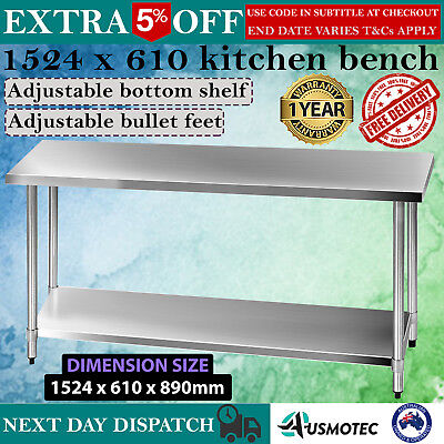 Kitchen Work Bench 430 Stainless Style Prep Table 1.5m Steel Table Restaurant