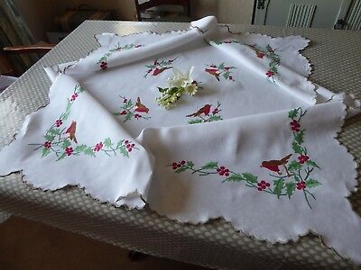 Vintage Hand Embroidered Linen Tablecloth-Robins & Holly Berries Christmas Cloth