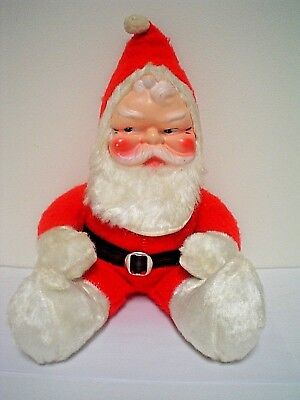 "Vintage Celluloid Face Plush Stuffed Santa Claus Doll 19""  Side Glance"