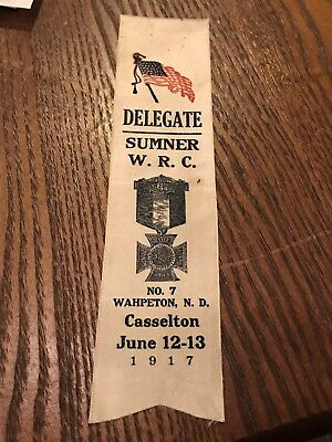 Vintage 1917 Womens Relief Corps GAR Civil War Ribbon Casselton North Dakota