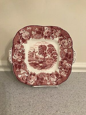 Vintage Wood & Sons Porcelain Serving Tray Red & White English Scenery Platter
