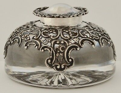 19th C Victorian Sterling Silver Glass Ink Well William Comyns London 1898