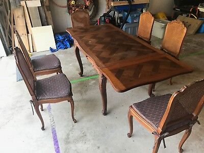 French Antique Oak Louis XV Draw Leaf Dining Room Kitchen Table and 6 Chairs