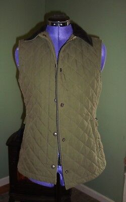 Women's LL Bean Quilted Insulated Zippered/Snap Green Vest Size XS