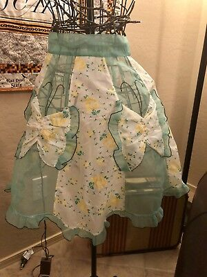 * Vintage Sheer Half-Apron, Butterfly Pockets