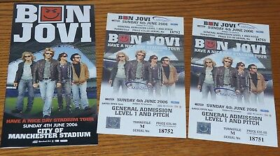Bon Jovi - Two Unused Tickets and Promo leaflet 2006 Tour (Manchester)