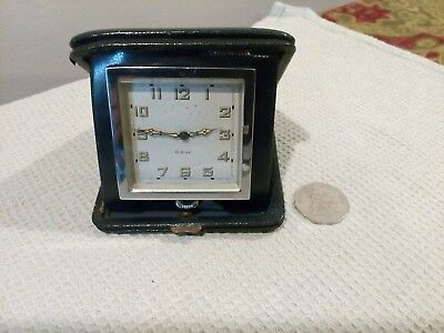 Vintage Art Deco Period Travel Clock In Case 8 Day Swiss Made Movement