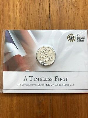 ROYAL MINT - The St George and the Dragon 2013 UK £20 Fine Silver Coin BRAND NEW