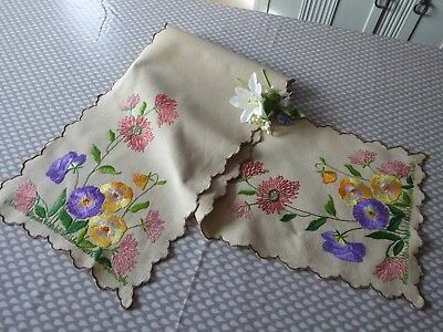 Vintage Hand Embroidered Linen Table Runner- Stunning Embroidery/bold Florals