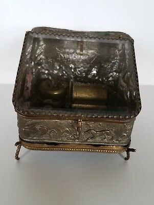 Antique Small Swiss Cylinder Music Box Lovely Sound!