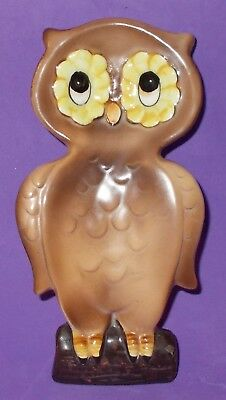 """Vintage Owl Spoon Rest, Can Hang on Wall 6"""" Original Sticker & Signed"""