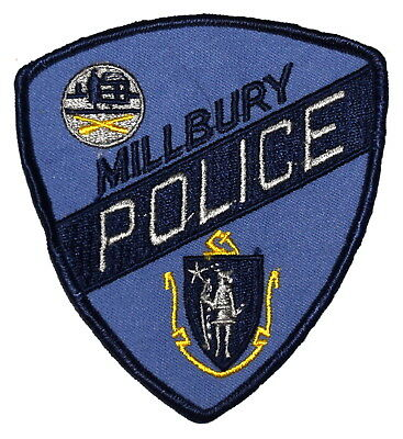 MILLBURY MASSACHUSETTS MA Police Sheriff Patch STATE SEAL VINTAGE OLD MESH ~