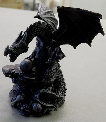 Mini Dragon Playing Ball Against Rocks Gothic Fantasy Collectible Figurine 1269